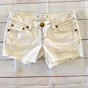 Free People Low Rise Distressed Jean Shorts (S 25)